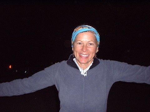 Laura Bailiff at finish of 1st 50-miler 2008