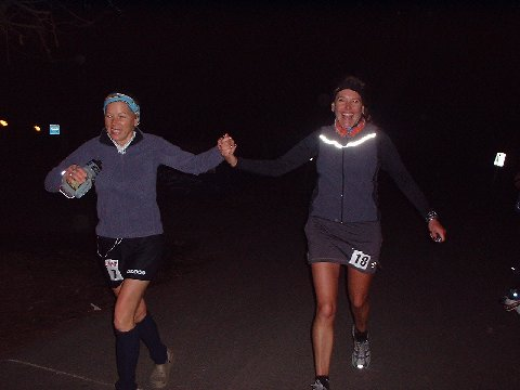 Laura Bailiff 1st 50-mile finish with friend Leigh 2008